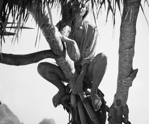 beach, black and white, and model image