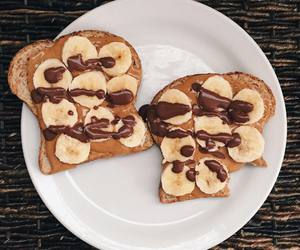 banana, healthy, and nutella image