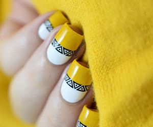 nails, yellow, and art image