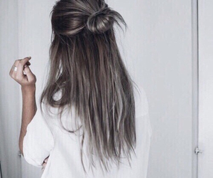 brunette, bun, and hair image