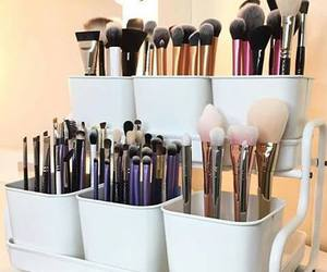 Brushes, makeup, and vanity image