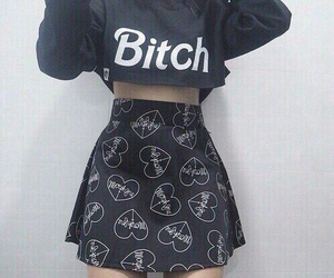 bitch, black, and outfit image