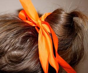 girl, bow. orange, and hair image