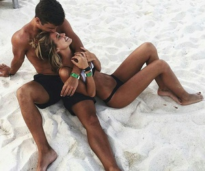 beach, couple, and laugh image