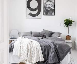 grey, home sweet home, and bedroom image