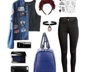 black, blue, and outfit image