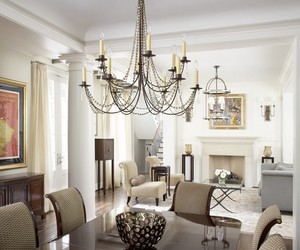 chandeliers, dining room ideas, and dining rooms image