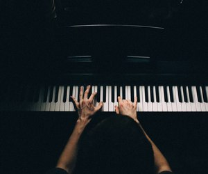 piano, black, and hands image