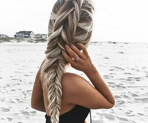 hair, hairstyle, and beach image