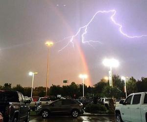 lightning, rainbow, and sky image
