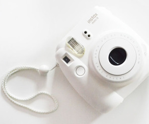 white, camera, and polaroid image