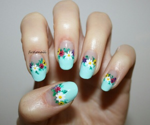 floral, pretty, and nail art image