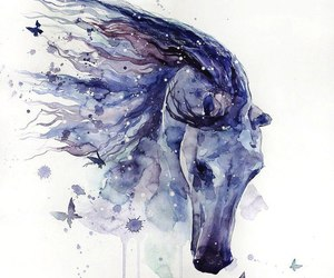 art, blue, and horse image
