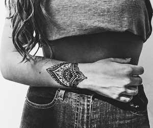 girl, henna, and tattoo image