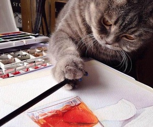 brush, cat, and paint image