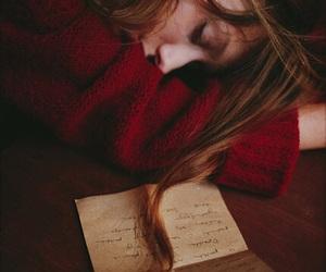 girl, Letter, and sleep image