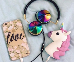 unicorn, iphone, and headphones image