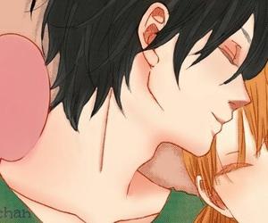 anime, cute couple, and kiss image
