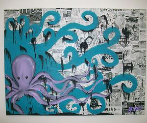 art, blue, and octopus image