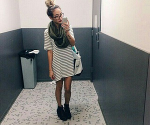 red lipstick, black glasses, and striped t-shirt dress image