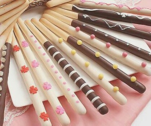 food, pocky, and chocolate image