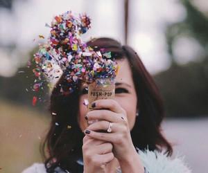 girl, colorful, and confetti image
