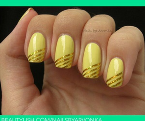 gold, nail art, and manicure image