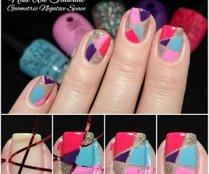 colorful, geometric, and nail art image