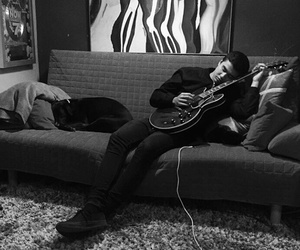black & white, guitar, and 5 seconds of summer image