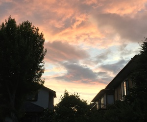 home, sky, and sunset image