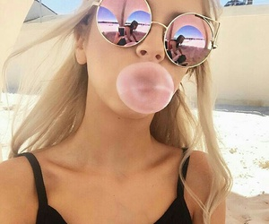 bubblegum, straight blonde hair, and black tank top image
