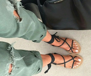 black sandals, black givenchy purse, and green ripped pants image