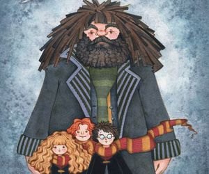 harry potter, hagrid, and hermione image