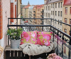 balcony, city, and flowers image