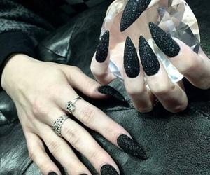 black, nails, and diamond image