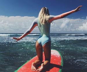 blonde, girl, and ocean image