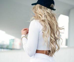 curly hair, girl, and long hair image
