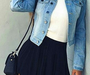 jean jacket, black knee high boots, and black cross body bag image