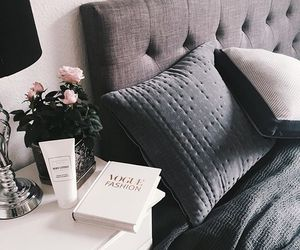 bed, flowers, and grey image