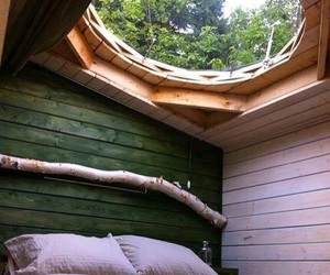 bed, room, and nature image