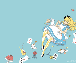 apron, blonde, and cards image