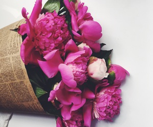flowers, bouquet, and pink image