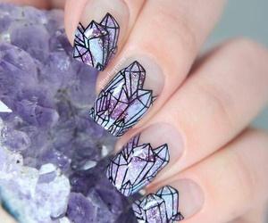 nails, purple, and diamond image