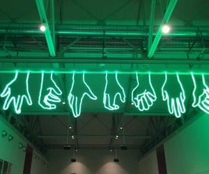 green, hands, and neon image