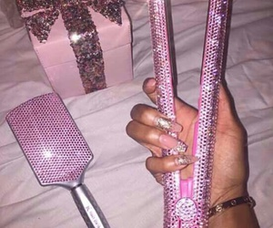 pink, glitter, and hair image