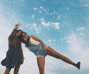 friends, girl, and sky image