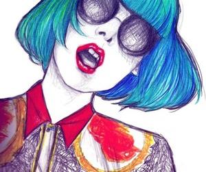 Lady gaga, draw, and blue image