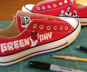 converse, green day, and red image