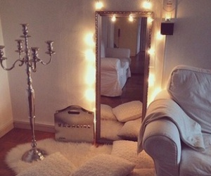 bedroom, light, and mirror image