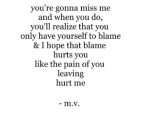 hurt, miss me, and blame yourself image